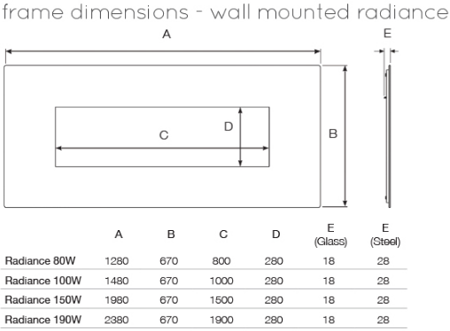 Gazco Radiance Dimensions