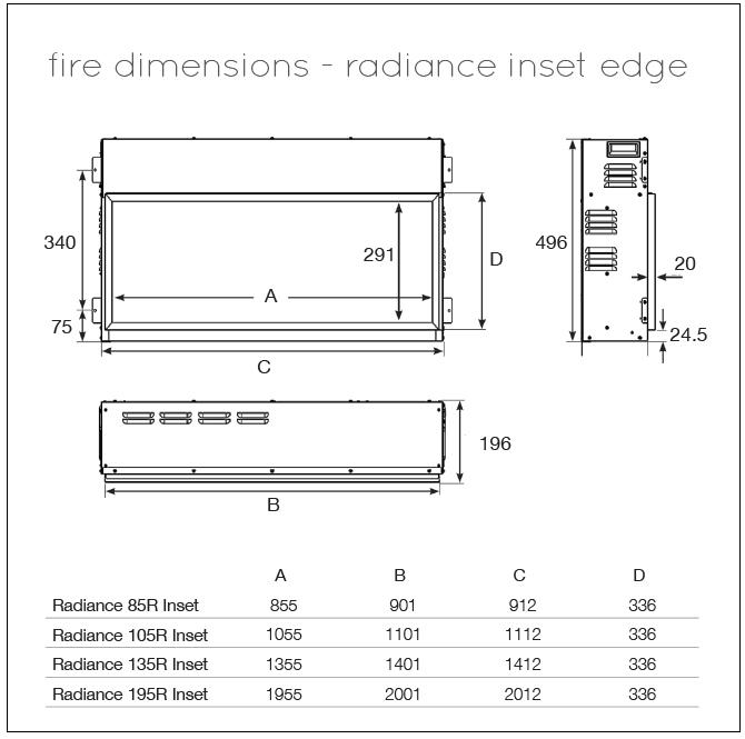Gazco Radiance Inset Dimensions