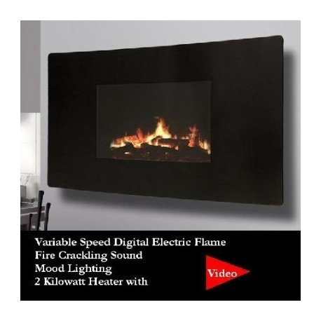 Ideal Homes Exhibit Electric Fire Celsi 985 Puraflame Curved 500H*985L*139D - Wall Mounted LCD Electric Fire with mood lighting