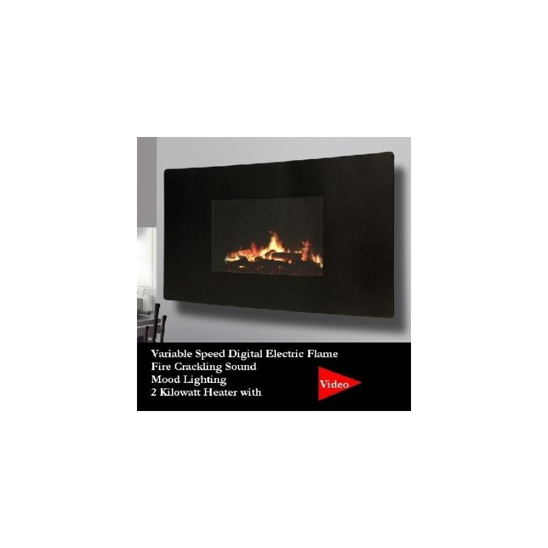 Ideal Homes Exhibit Electric Fire Celsi 985 Puraflame Curved 500H*985L*139D    Wall Mounted LCD Electric Fire With Mood Lighting