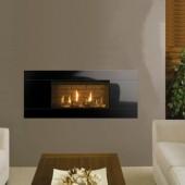Gazco Studio 1 Slimline Balanced Flue Gas Fire with Black Glass Frame