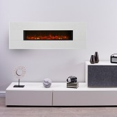 "Ekoflame LED Wall Mounted Electric Fire- ""Aurora Granite/Limestone"" with mood lighting. TGC1190"