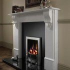 Edwardian Gas Fire, Open Radiant Inset Gas Fire, Polished or Black Cast Iron Frame Ekofire 130803085,