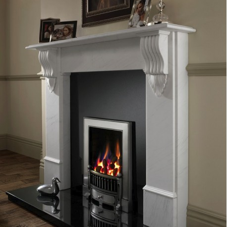 Edwardian Gas Fire, Open Radiant Inset Gas Fire, Polished or Black Cast Iron Frame Ekofire 130803085,