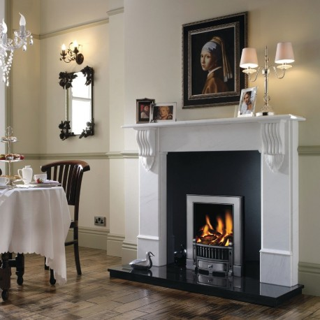 Classic Cast Iron Polished Frame High Efficiency Open Front Fire. Ekofire 130903095