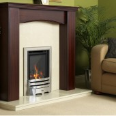 Gas Fire Flavel Kenilworth HE Glass Fronted Contemporary Silver HE High Efficiency 78%