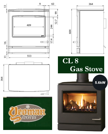 Yeoman CL 8 Gas Stove Dimensions