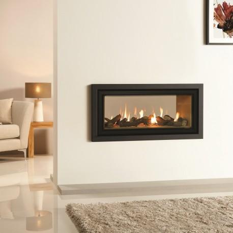 Gazco Duplex Studio 2 Tunnel Gas Fire Profil, High Efficiency 82% 7.9kw Glass Double Sided Balanced Flue Gas Fire. GSDUP