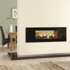 Gazco Studio 2 Duplex Black Glass, High Efficiency 82% 7.9kw Double Sided Blanced Flue Tunnel Gas Fire.GSDUP