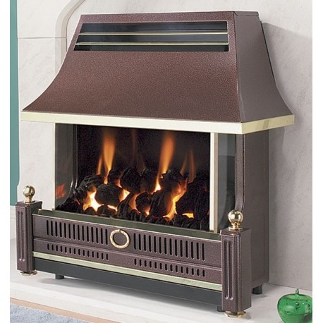 Flavel Renoir Black Outset Fire High Efficiency Glass Fronted Gas Fire