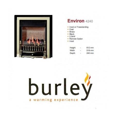Flueless Gas Fire Burley Environ Inset Flueless Gas Fire Black & Brass Easy Slide Control