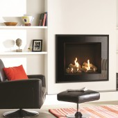 Gas Fire Gazco Riva2 750 Evoke Glass High Efficiency (82%) Conventional Flue Chimney Gas Fire. GRV2750cf