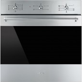 "SMEG ""Classic"" Gas Fan Oven with Electric Grill, Finger-friendly Stainless Steel, Eclipse Vison Glass & Rotisserie Function"