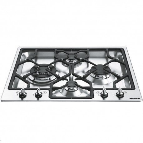 Smeg Gas Hob TGCPGF64-4 Linea 60cm Wide Ultra Low Profile 4 Burner Gas Hob with Ultra Rapid Burner, Stainless Steel