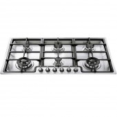 Smeg 6 Burner TGCPGF96X 6 Gas Hob Ultra Low Profile Linea Classic 6 Burner Gas Hob , cast supports. 90cm hob.