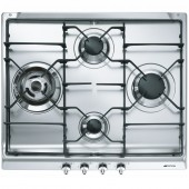 Gas Hob Smeg SER60S3 60cm Wide 4 Burner Gas Hob with Enamel Pan Supports, Stainless Steel