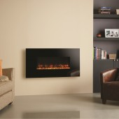 Electric Fire Gazco Radiance 80W Black Glass Electric Wall Mounted Fire with vari-colour flame effect and mood lighting.