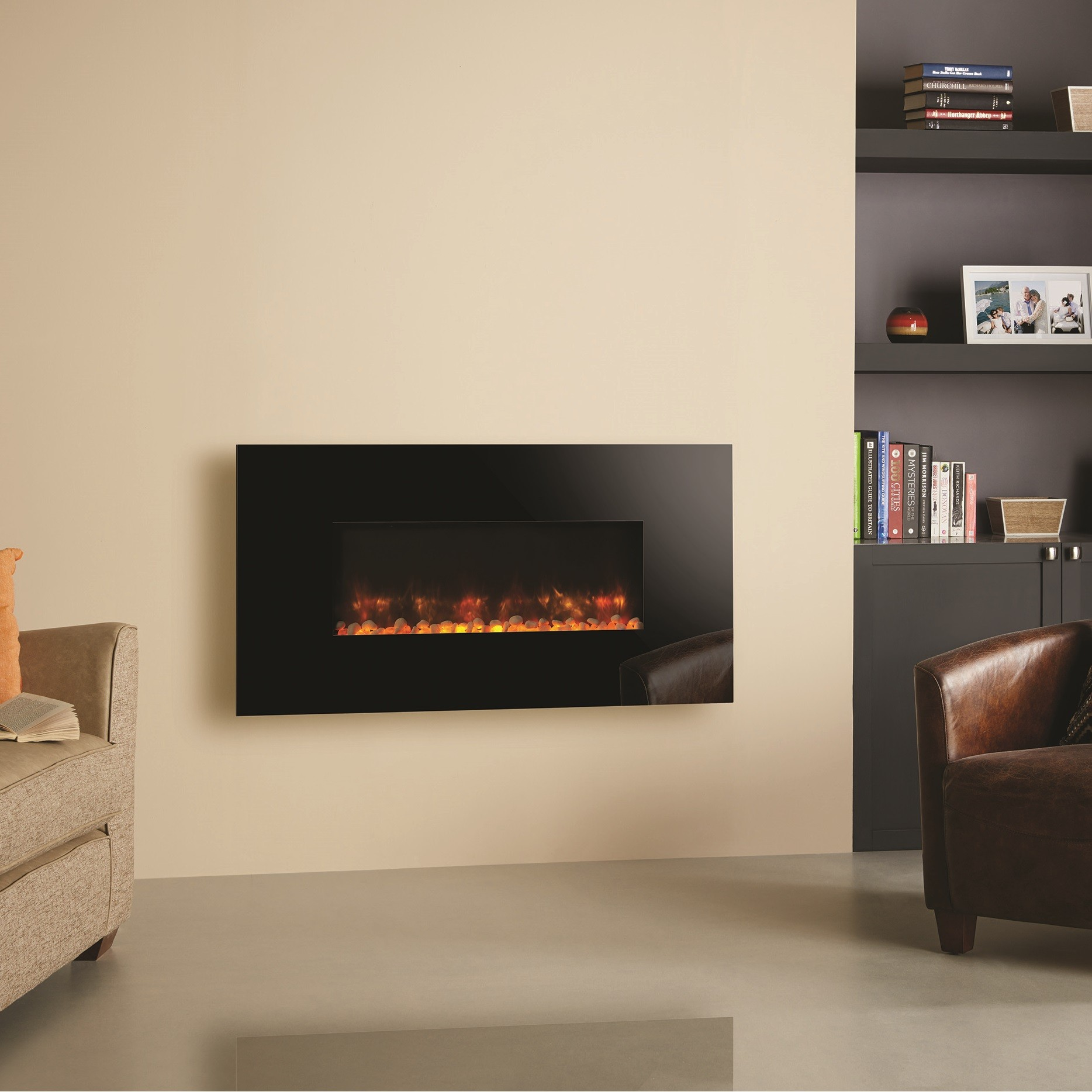 gazco radiance 80w black glass electric wall mounted fire with