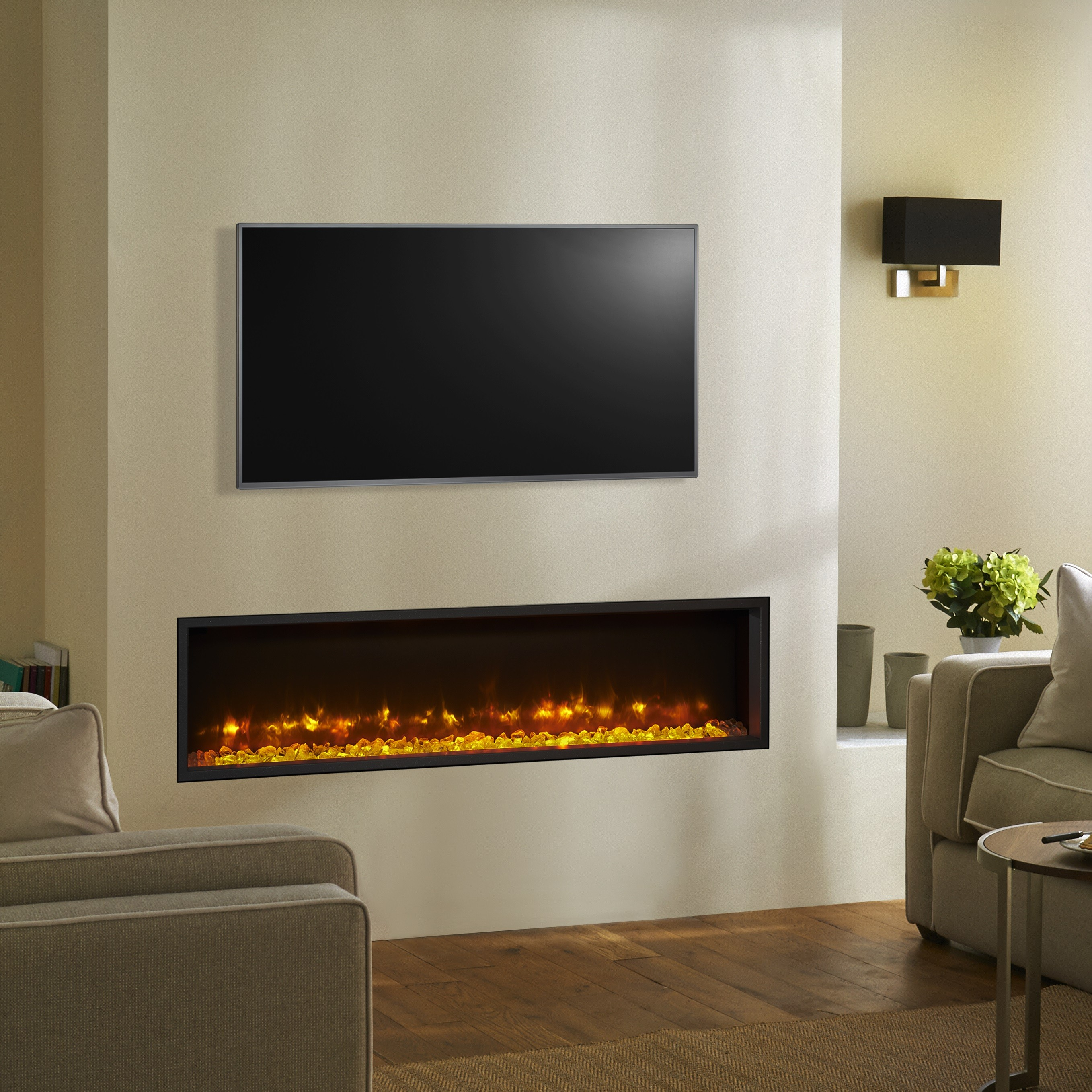 Wall Mount Electric Fireplace Or Recessed Within Designs: Recessed Electric Fires