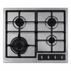 TGCCDA HG6350SS Four Burner Gas Hob with Wok Burner and Cast Iron Pan Supports in Stainless Steel