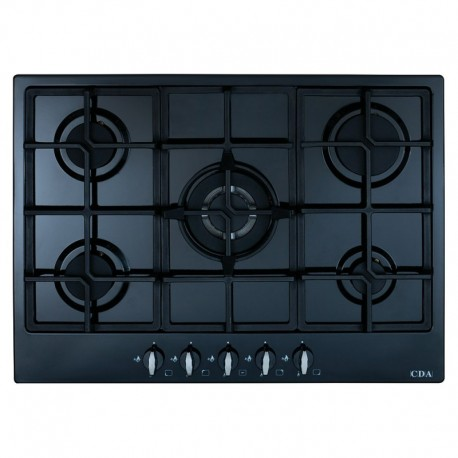 TGCCDA HG7250BL Five Burner Gas Hob with Cast Iron Pan Supports and Wok Burner in Black
