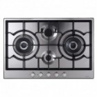 TGCCDA HG7500SS 750mm Four Burner Designer Gas Hob with Front Control and 2 Wok Burners in Stainless Steel