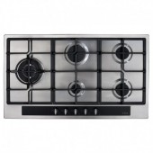 TGCCDA HG9350SS 90cm Five Burner Gas Hob with Cast Iron Pan Supports and Wok Burner in Stainless Steel