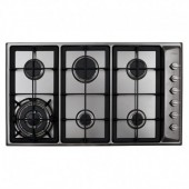 Gas Hob Six burner designer gas hob with side wok burner, side control, stainless steel, with cast pot supports. TGCHG9320SS