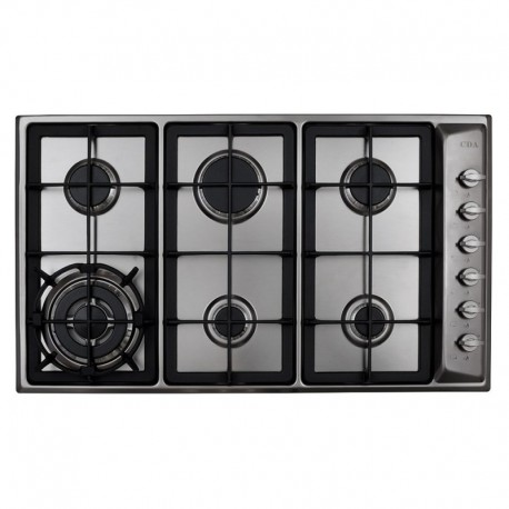 TGCCDA HG9320SS Six burner Designer Gas Hob with Side Wok Burner, Side Controls and Cast Iron Pan Supports in Stainless Steel