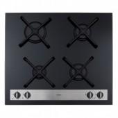Four burner designer gas on glass hob, black, CDA HVG66BL, cast pot supports