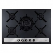 CDA HVG77BL Five burner designer gas on glass hob, black glass 5 burner with cast pot supports and work burner