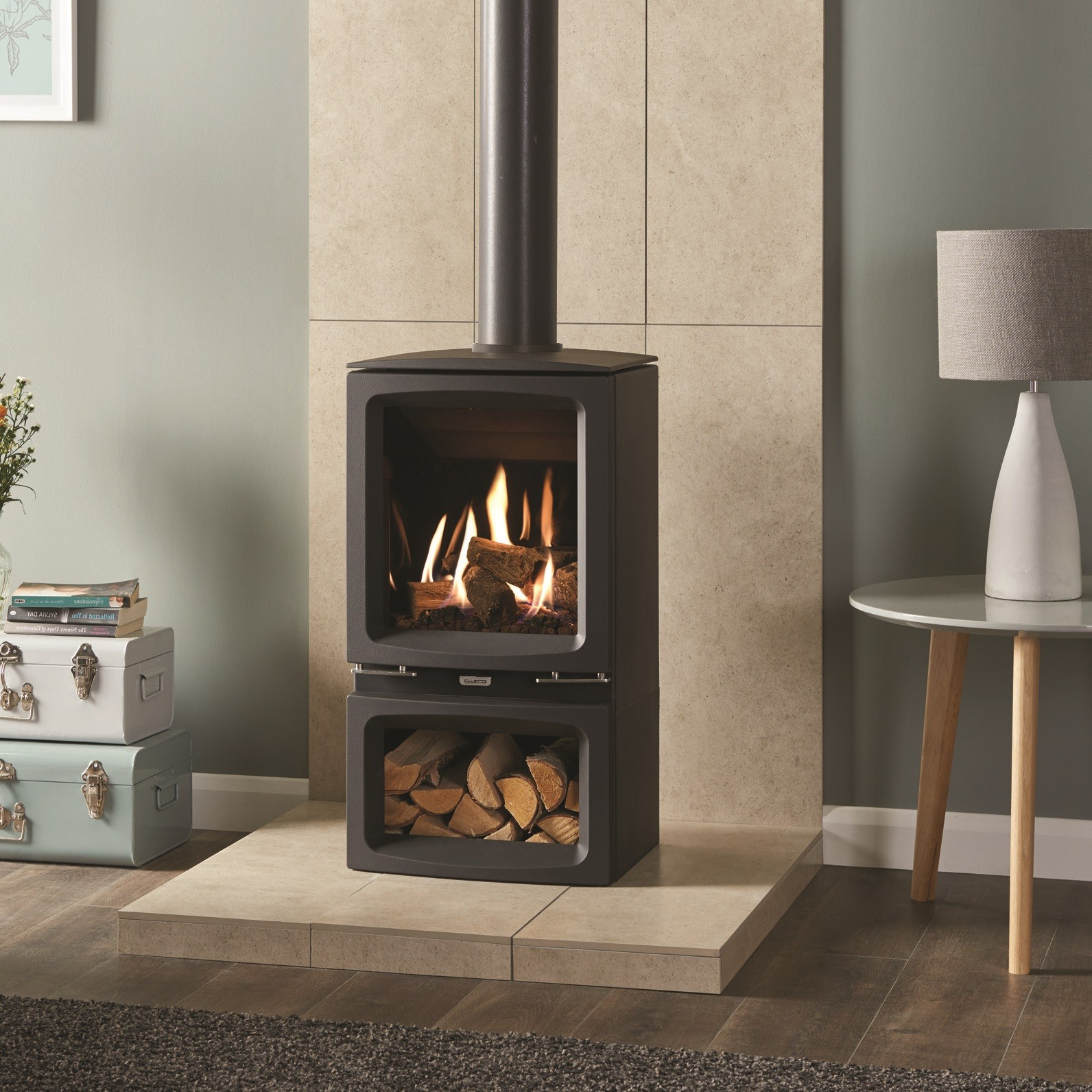 vogue contemporary chimneys fireplace company flue high convetional efficiency the for stoves gazco gas stove midi