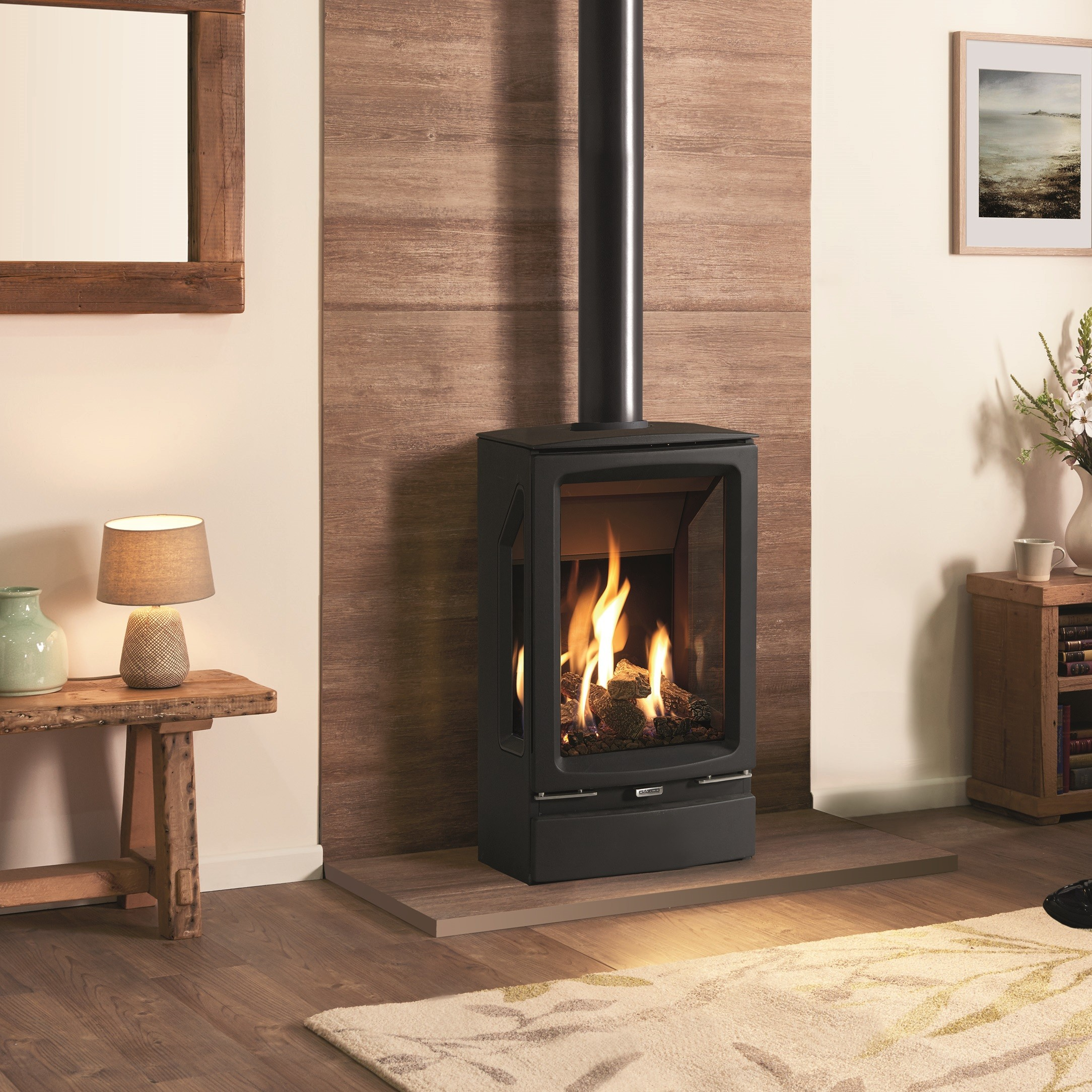 Gas Stove Gazco Gas Vogue Midi T Conventional Flue, High Efficiency (75%)  Contemporary 3 Sided Gas Stove  - The Gas Company
