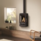 Gas Stove Gazco Gas Vogue Midi T Wall Mounted Balanced Flue., High Efficiency (80%) Contemporary Gas Stove