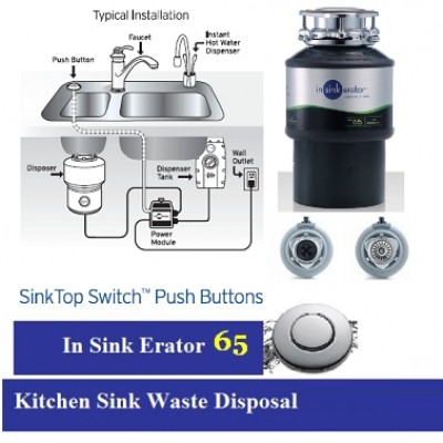 kitchen sink waste disposal units in sink erator new insinkerator 66 food disposal unit complete with air switch - Kitchen Sink Erator