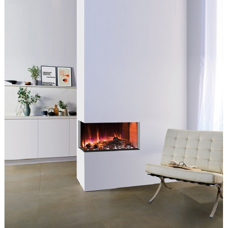 Gazco Skope 70W left corner Electric Inset Fire with log effect variable flame and Remote controlled 2 kil watt heater