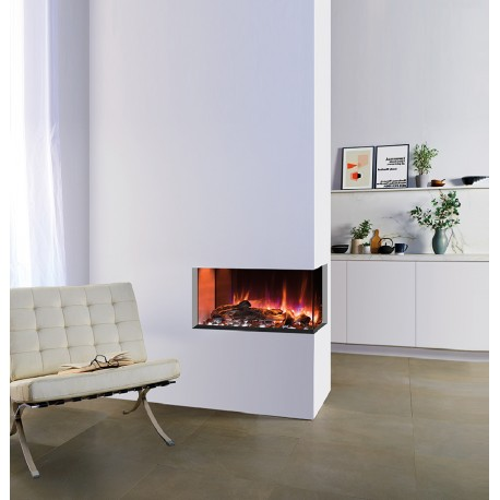 Gazco Skope 70W right corner Electric Inset Fire with led log effect variable flame with remote controlled 2 kilowatt heater