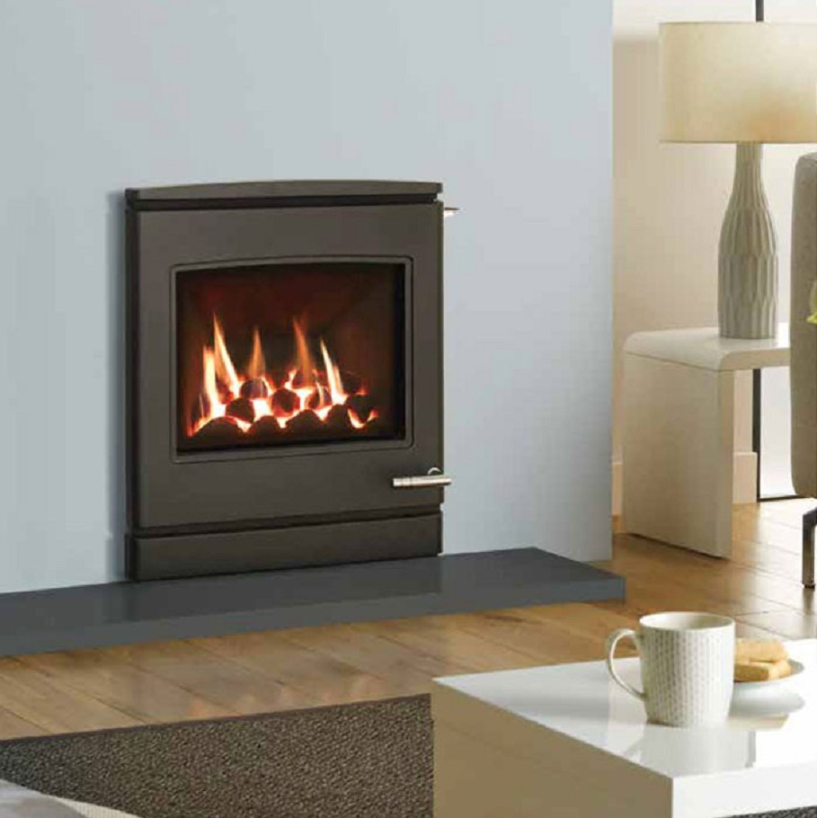 Yeoman cl7 gas fire glass fronted contemporary steel high efficiency 76 glass fronted gas fire stove