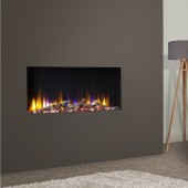 """Log Effect built in electric fire with remote controlled wall gas fire. """"Virtual Real-Flame 83i"""" inset electric fire."""