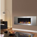 "Log Effect built in electric fire, ""Ultiflame VR Metza Silver 59i ""remote control, recessed inset electric log effect fire."