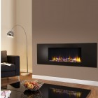 "Log Effect built in electric fire, ""Ultiflame VR Metza Black 59i ""remote control, recessed inset electric log effect fire."