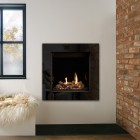 Gazco Riva2 600HL CF Gas Fire with Icon XS Black Glass Frame