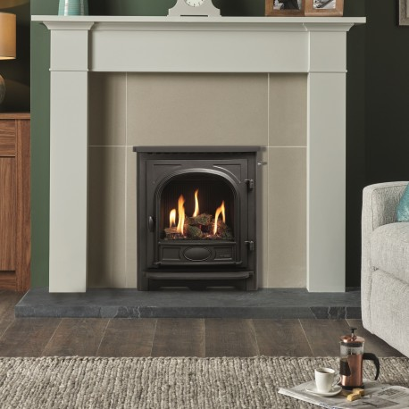 Gazco Logic HE CF Log Gas Fire with Stockton Inset Stove Frame