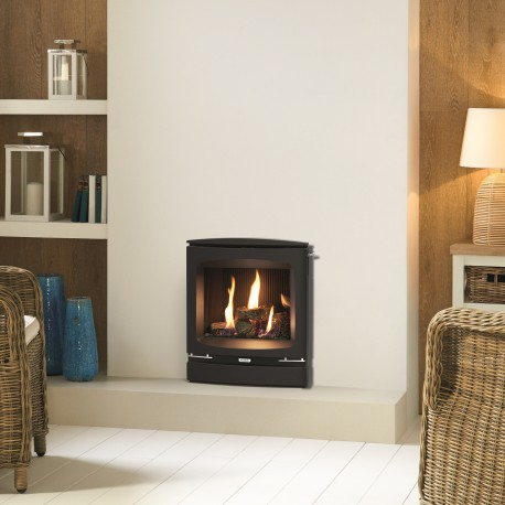 Gazco Logic Log HE CF Vogue Inset High Efficiency (84%) Glass Fronted Gas Fire. NGLHE-CF