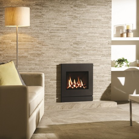 Gazco Logic Coal HE CF Designio2 Steel, High Efficiency Gas Fire(89%) wall gas fire on cream tiled wall