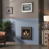 Gazco Logic Log HE CF Designio2 Steel High Efficiency (84%) Glass Fronted Gas Fire. GLHECFL