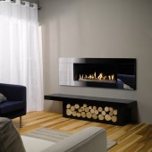 Gazco Studio 2 Balanced Flue Gas Fire with Black Glass Frame