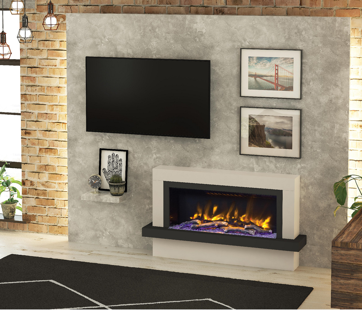 Wall Mounted Electric Fireplace Suite With Led Electric Fire Pryzm