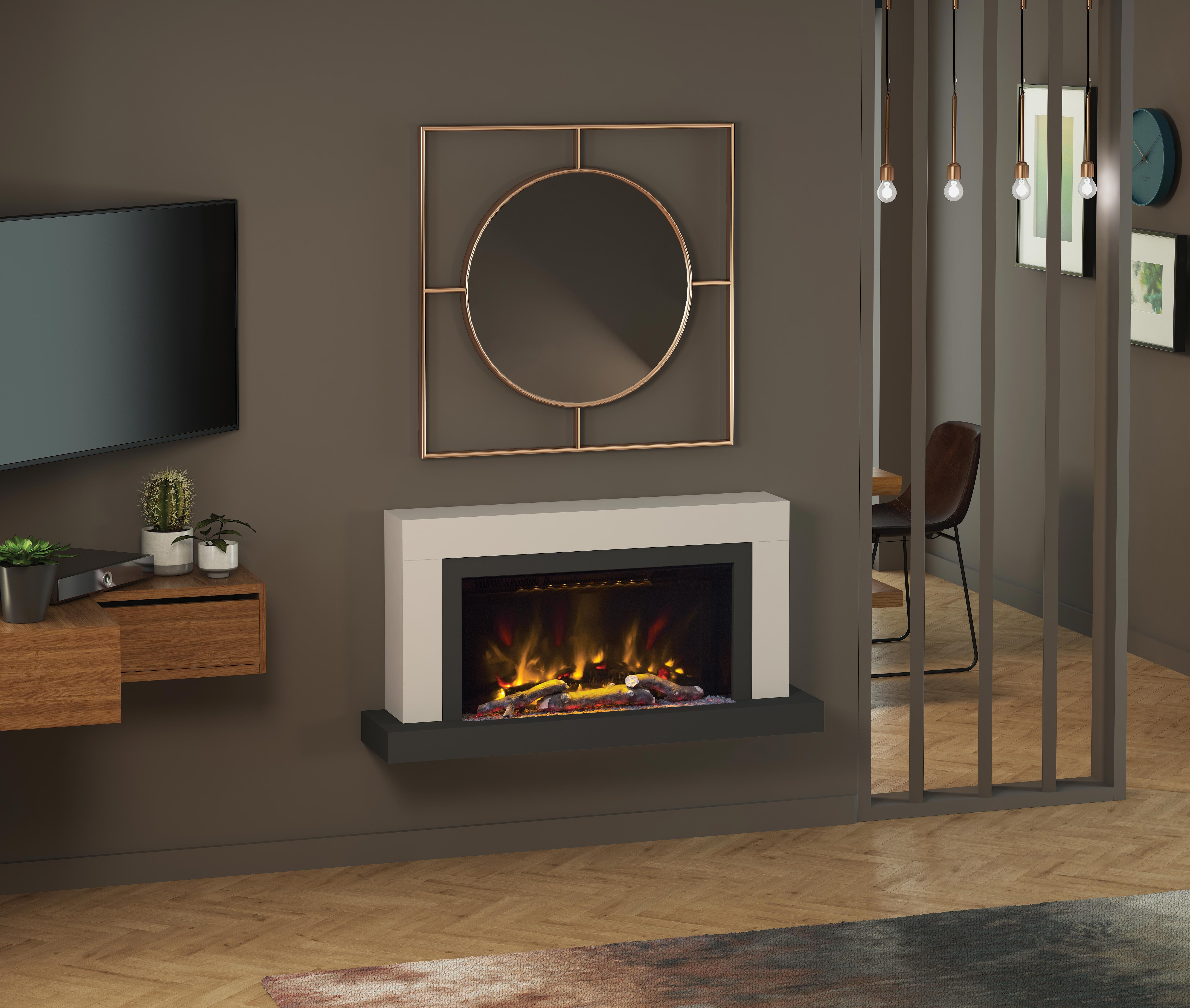 Wall Mounted Electric Fireplace Suite With Led Electric Fire Pryzm Vardo 47 Electric Fire With Led Vari Colour Flame The Gas Company