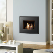 Gas Fire Gazco Riva2 500 Evoke Steel Casste High Efficiency (75%) Glass Fronted Conventional Flue Chimney Gas Fire. GRV2500cf